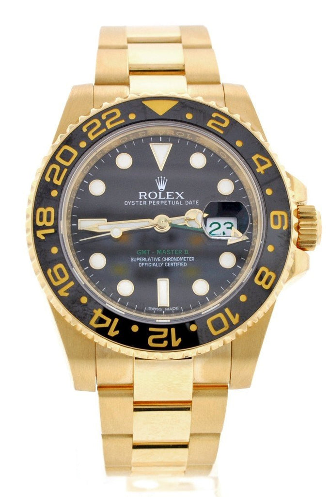 ROLEX 116718 GMT-Master II Black Dial 18k Gold Mens Watch| WatchGuyNYC.