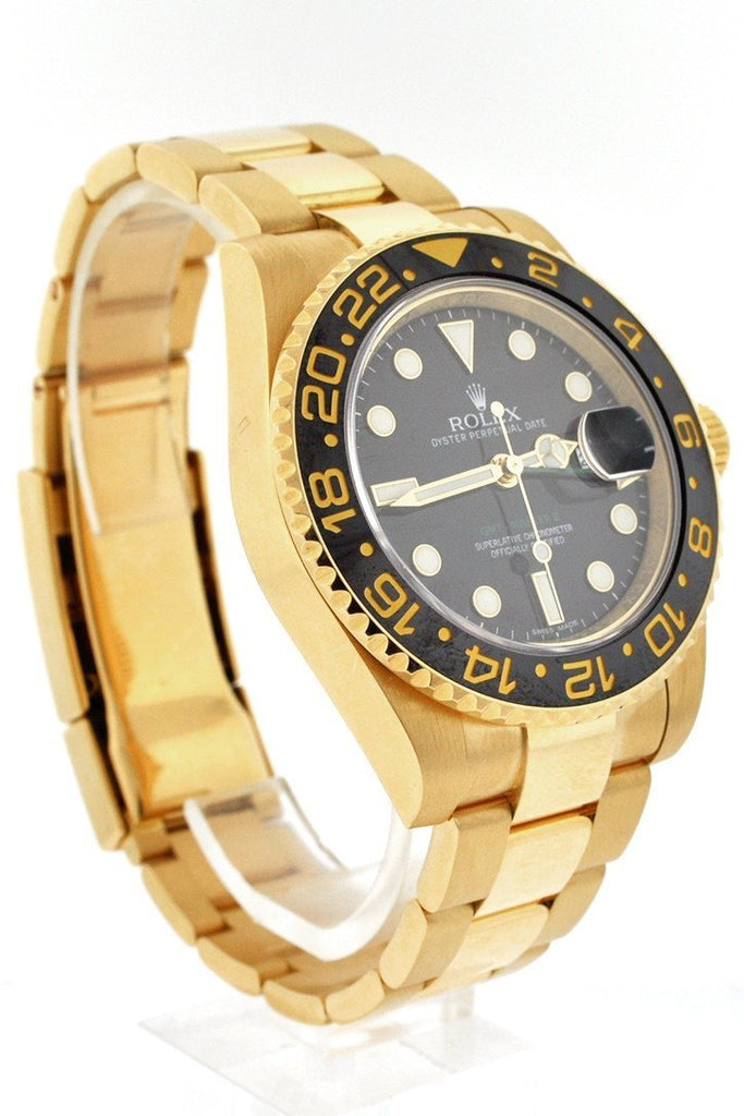 Rolex Gmt Master Ii Black Dial Bracelet 18Kt Yellow Gold Mens Watch 116718 Pre-Owned-Watches