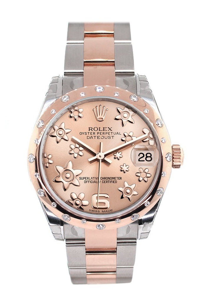 Rolex Datejust 31 Pink Raised Floral Motif Dial Diamond Bezel 18K Rose Gold Two Tone Ladies Watch 178341