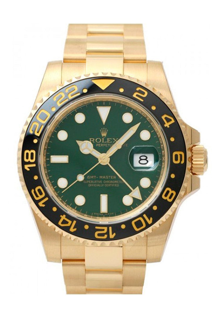 ROLEX 116718 GMT-Master II Green Dial 18k Gold Mens Watch| WatchGuyNYC