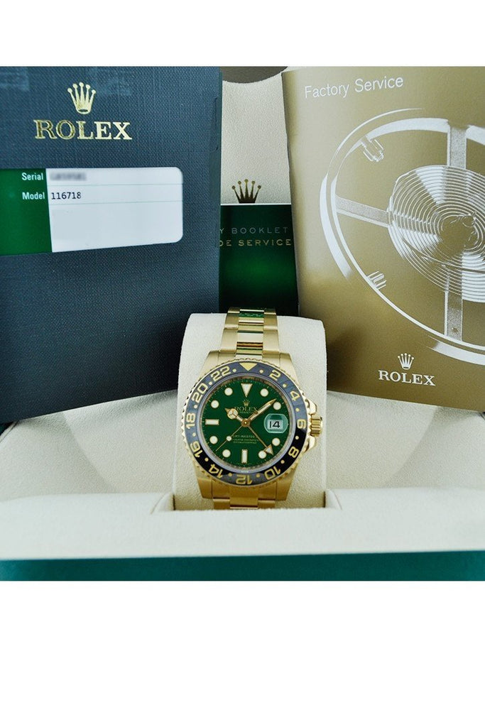 Rolex Gmt Master Ii Green Dial Oyster Bracelet 18Kt Yellow Gold Mens Watch 116718
