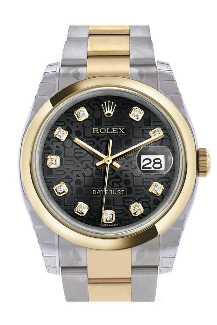 Rolex Datejust 36 Black Jubilee Diamond Dial 18k Gold Two Tone Oyster Watch 116203