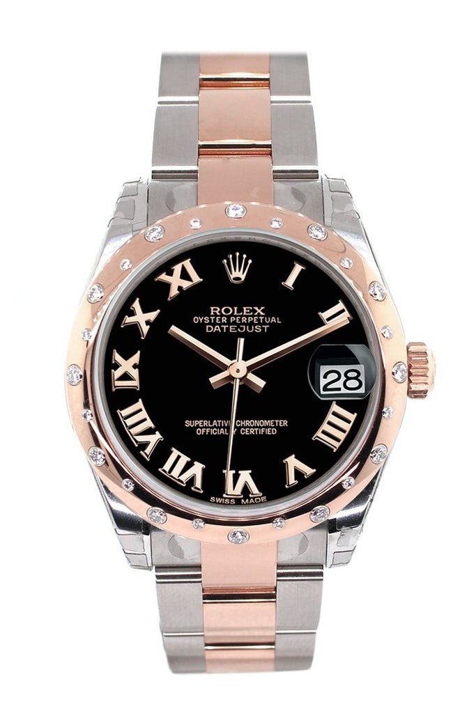 Rolex Datejust 31 Black Roman Dial Diamond Bezel 18K Rose Gold Two Tone Ladies Watch 178341