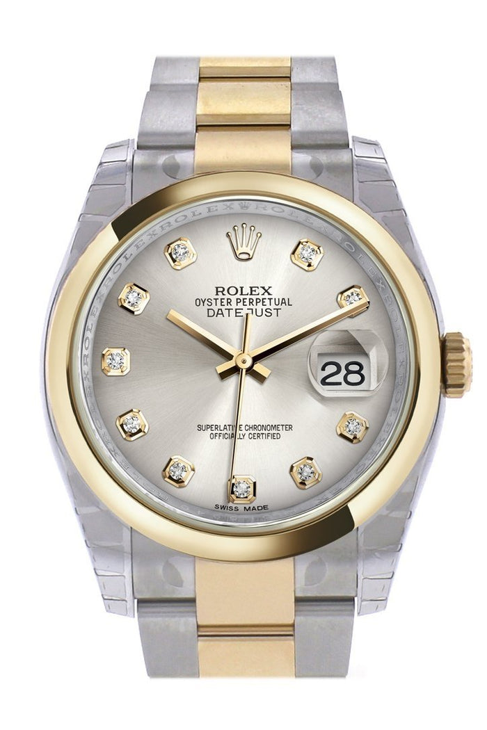 Rolex Datejust 36 Silver Diamond Dial 18k Gold Two Tone Oyster Watch 116203