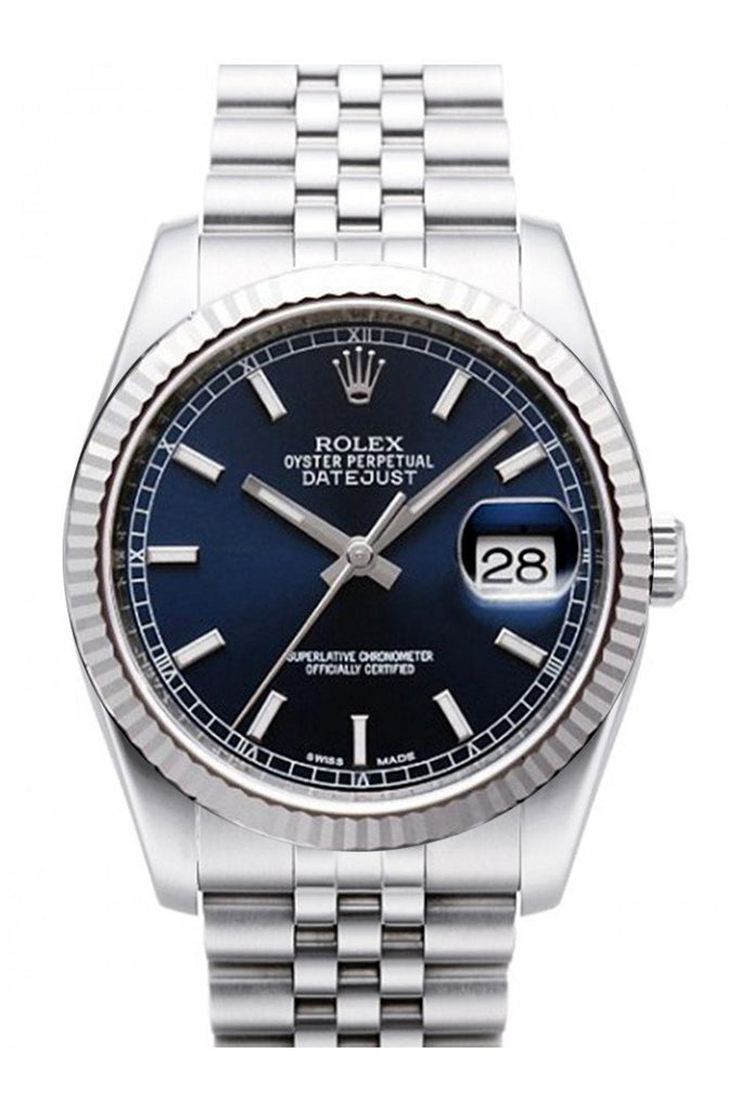Rolex Datejust 36 Blue Dial 18K White Gold Fluted Bezel Stainless Steel Jubilee Watch 116234