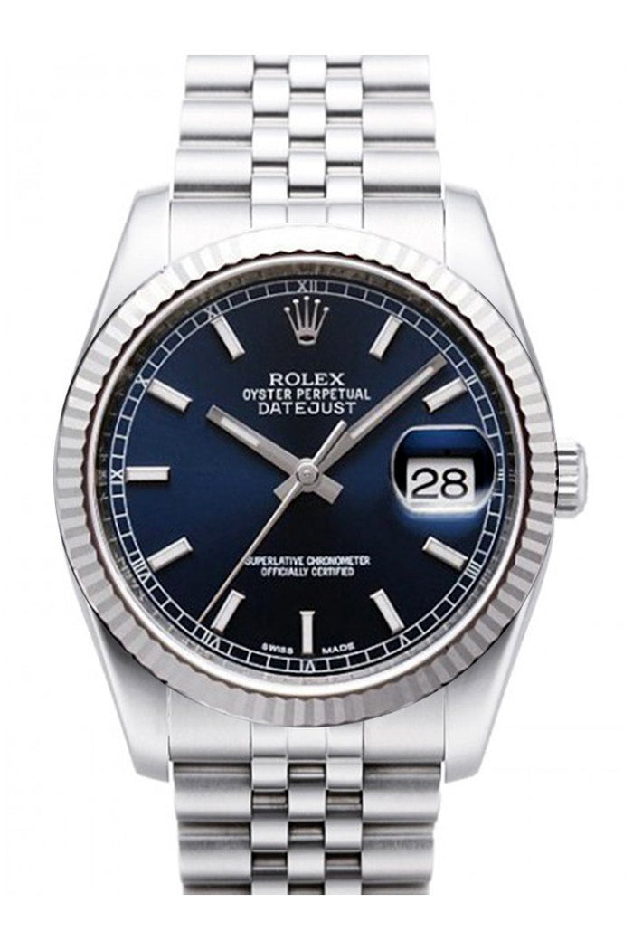 ROLEX 116234 Datejust 36 Blue Dial Gold Bezel Watch | WatchGuyNYC