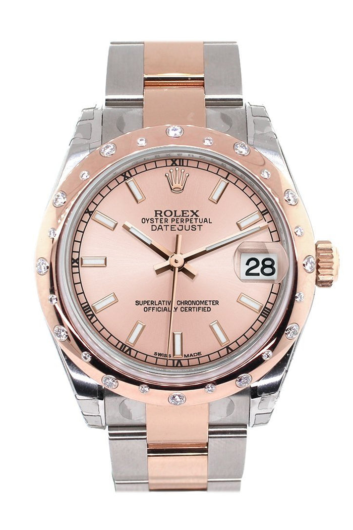 Rolex Datejust 31 Pink Dial Diamond Bezel 18K Rose Gold Two Tone Ladies Watch 178341