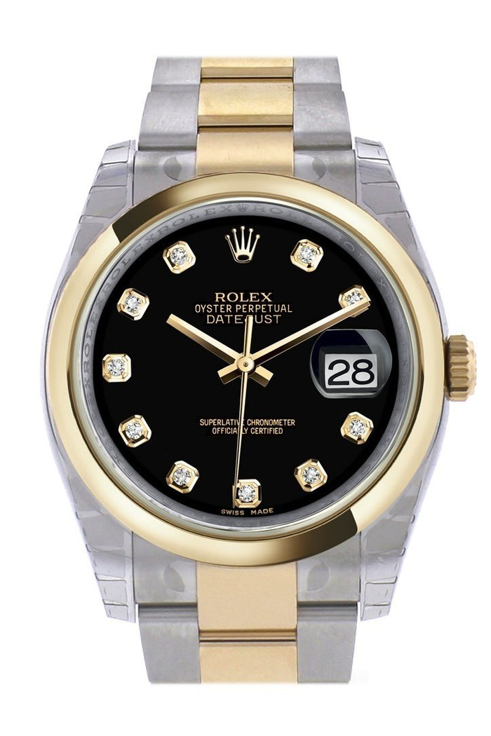 Rolex Datejust 36 Black Diamond Dial 18k Gold Two Tone Oyster Watch 116203