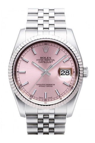 Rolex Datejust 36 Pink Dial 18k White Gold Fluted Bezel Stainless Steel Jubilee Watch 116234