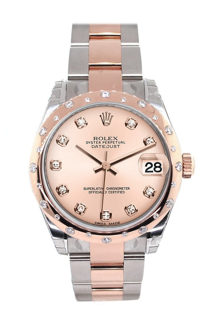 Rolex Datejust 31 Pink Diamond Dial Diamond Bezel 18K Rose Gold Two Tone Ladies Watch 178341