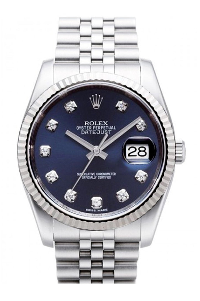 Rolex Datejust 36 Blue Diamond Dial 18K White Gold Fluted Bezel Stainless Steel Jubilee Watch 116234