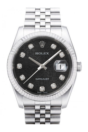 Rolex Datejust 36 Black Jubilee Diamonds Dial 18K White Gold Fluted Bezel Stainless Steel Watch