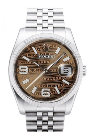 Rolex Datejust 36 Bronze Waves Oyster Dial 18K White Gold Fluted Bezel Stainless Steel Jubilee Watch