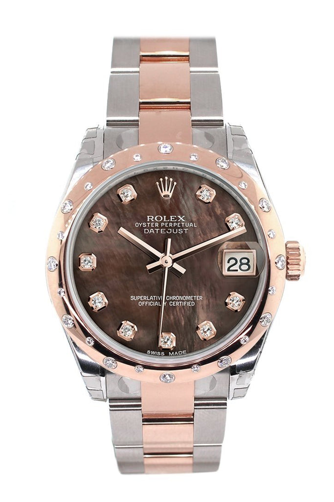 Rolex Datejust 31 Black Mother of Pearl Diamond Dial Diamond Bezel 18K Rose Gold Two Tone Ladies Watch 178341