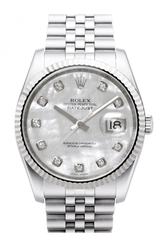 Rolex Datejust 36 Mother Of Pearl Diamond Dial 18K White Gold Fluted Bezel Stainless Steel Jubilee
