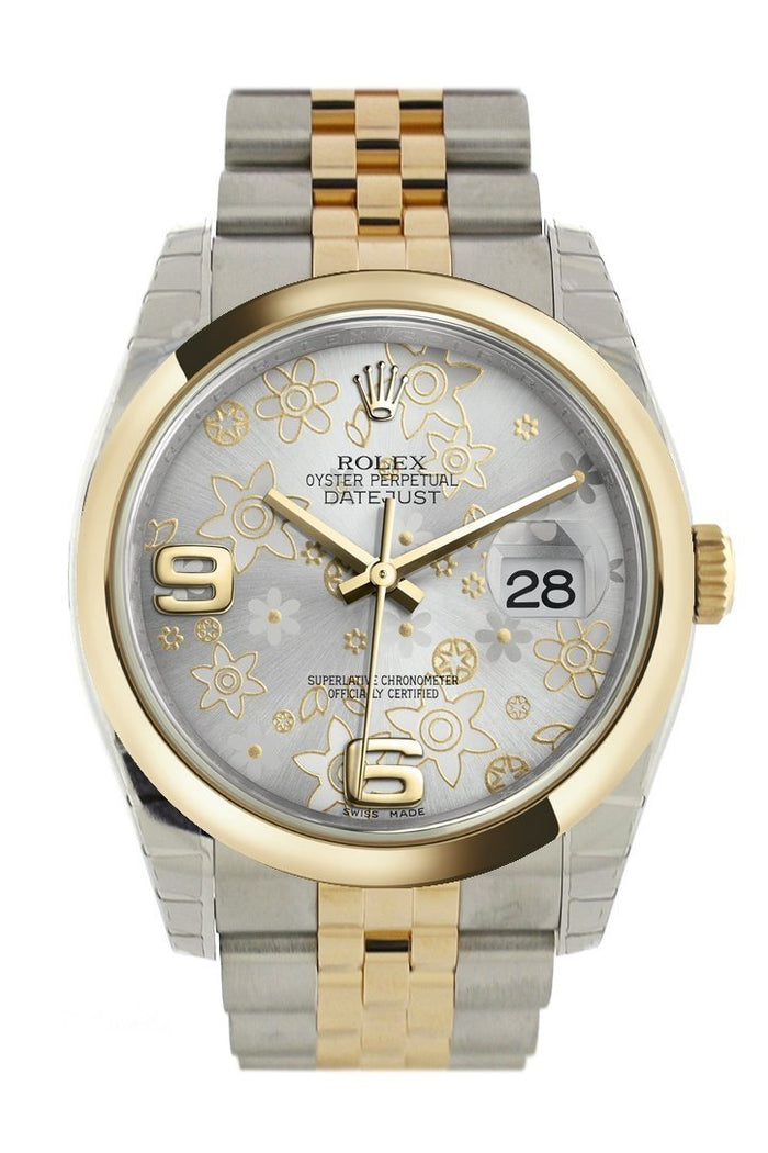 Rolex Datejust 36 Silver floral motif Dial 18k Gold Two Tone Jubilee Watch 116203