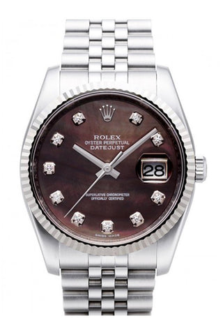 olex Datejust 36 Black Mother of Pearl Diamond Dial 18k White Gold Fluted Bezel Watch