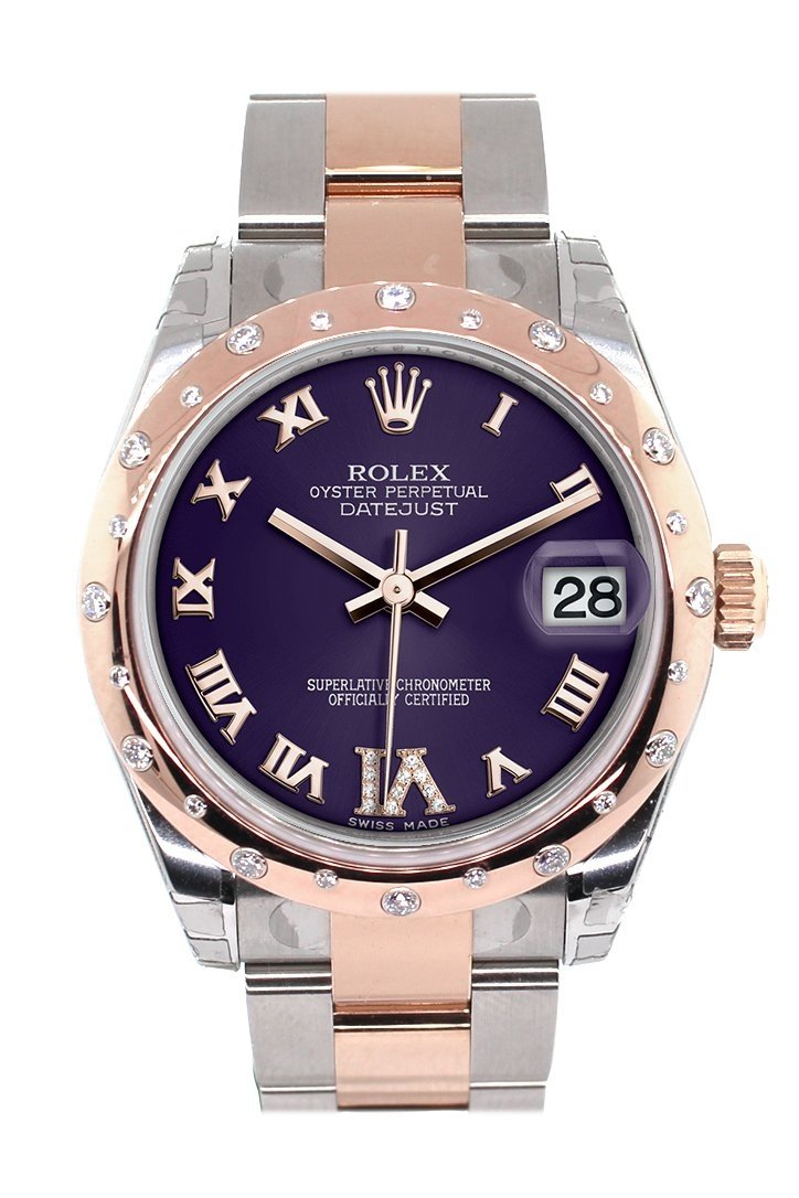 Rolex Datejust 31 Purple Roman Large Vi Set With Diamond Dial Bezel 18K Rose Gold Two Tone Ladies