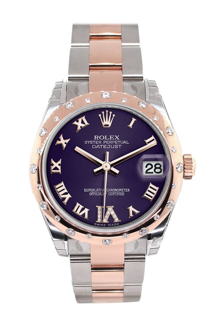 Rolex Datejust 31 Purple Roman Large VI set with Diamond Dial Diamond Bezel 18K Rose Gold Two Tone Ladies Watch 178341
