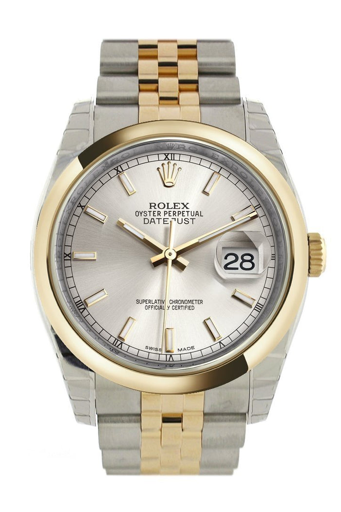 Rolex Datejust 36 Silver Dial 18k Gold Two Tone Jubilee Watch 116203