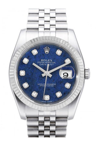 Rolex Datejust 36 Sodalite set with Diamonds Dial 18k White Gold Fluted Bezel Watch