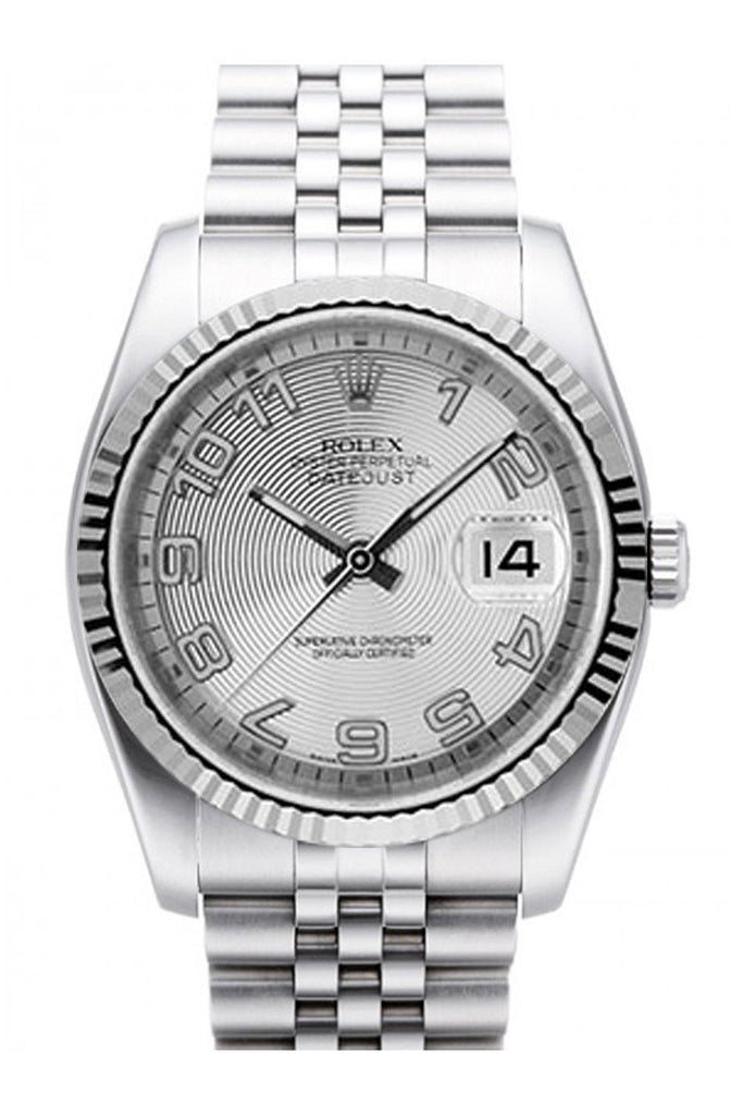 Rolex Datejust 36 Silver Concentric Dial 18K White Gold Fluted Bezel Stainless Steel Jubilee Watch
