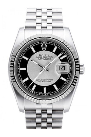 Rolex Datejust 36 Silver Black Dial 18K White Gold Fluted Bezel Stainless Steel Jubilee Watch 116234