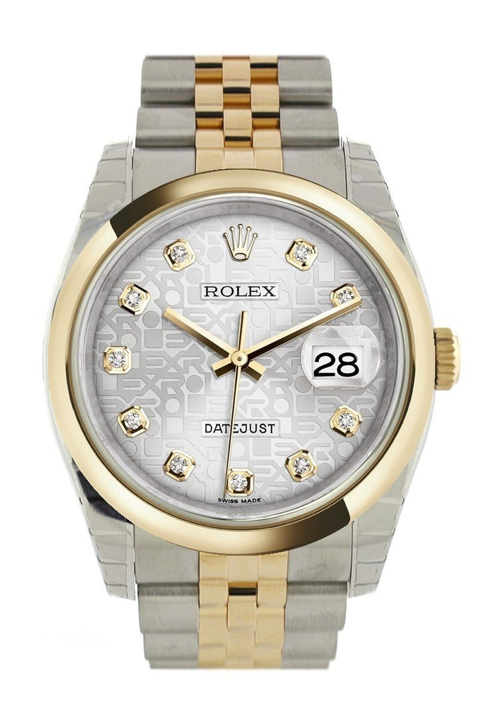 Rolex Datejust 36 Silver Jubilee Diamond Dial 18k Gold Two Tone Jubilee Watch 116203