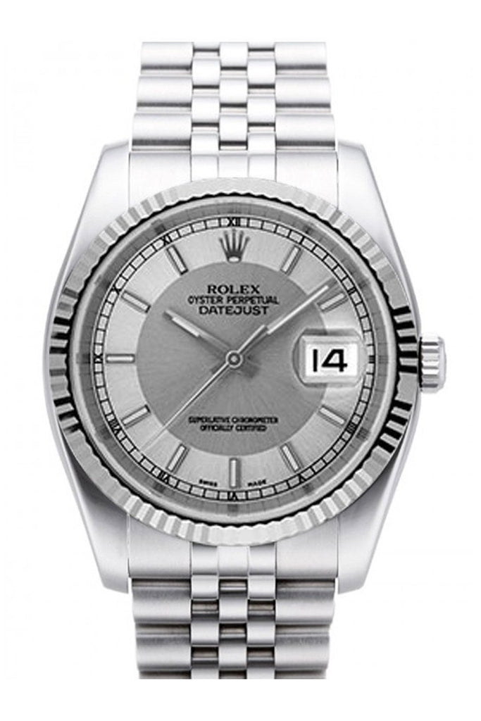 Rolex Datejust 36 Steel Silver Dial 18K White Gold Fluted Bezel Stainless Jubilee Watch 116234