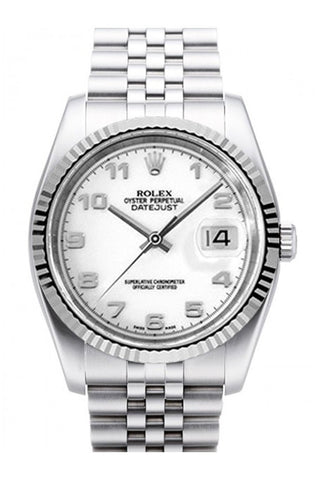 Rolex Datejust 36 White Dial 18k White Gold Fluted Bezel Stainless Steel Jubilee Watch 116234