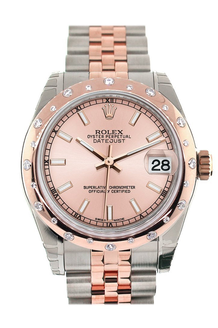 Rolex Datejust 31 Pink Dial Diamond Bezel 18K Rose Gold Two Tone Jubilee Ladies Watch 178341