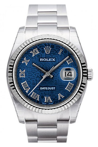Rolex Datejust 36 Blue Jubilee Roman Dial 18k White Gold Fluted Bezel Stainless Steel Oyster Watch 116234