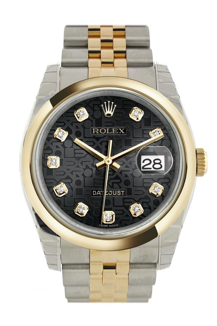 Rolex Datejust 36 Black Jubilee Diamond Dial 18k Gold Two Tone Jubilee Watch 116203