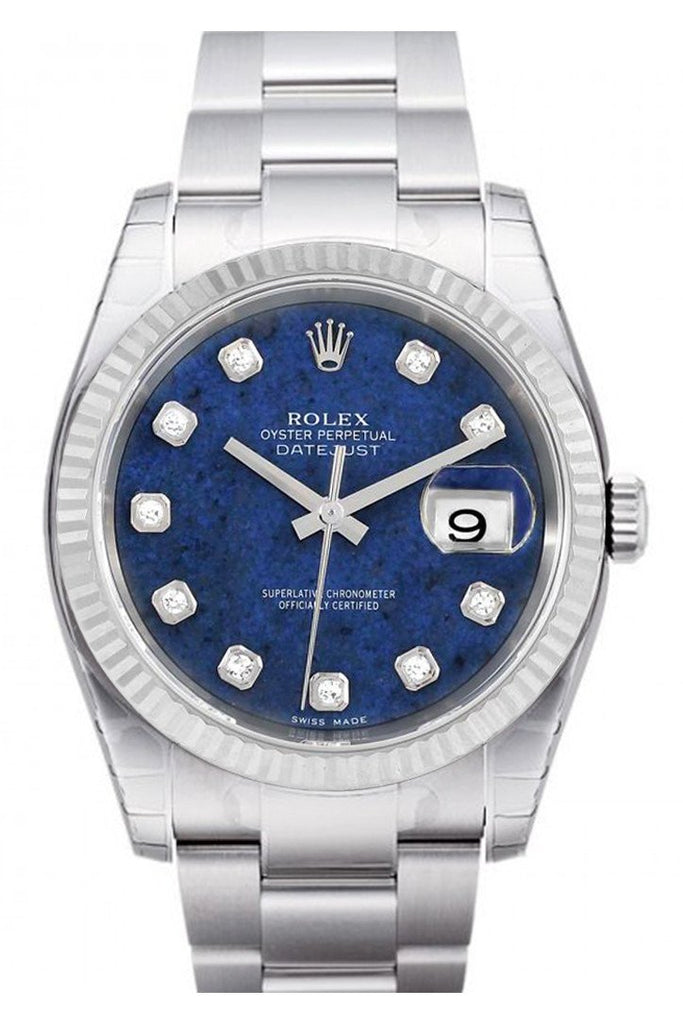 Rolex Datejust 36 Sodalite Diamonds Dial 18K White Gold Fluted Bezel Stainless Steel Oyster Watch