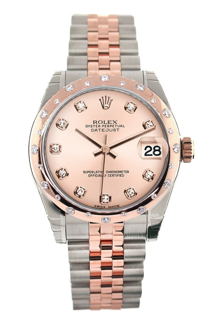 Rolex Datejust 31 Pink Diamond Dial  Diamond Bezel 18K Rose Gold Two Tone Jubilee Ladies Watch 178341
