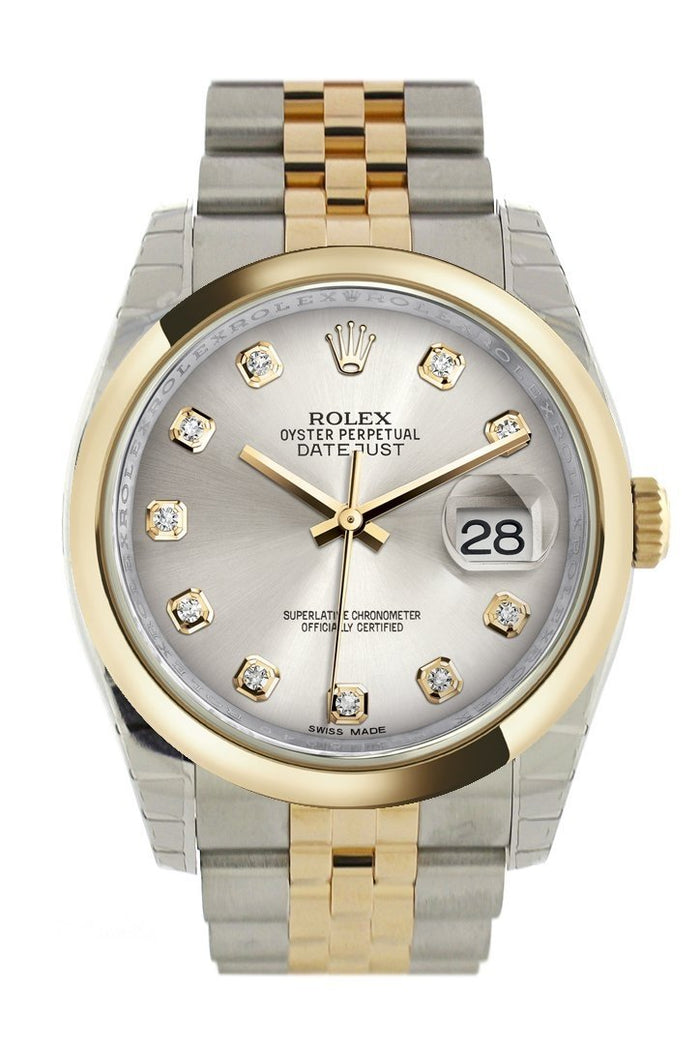 Rolex Datejust 36 Silver Diamond Dial 18k Gold Two Tone Jubilee Watch 116203