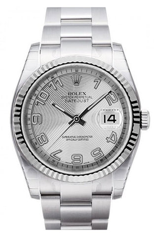 ROLEX 116234 Datejust 36 Silver Concentric Dial White Gold Bezel Watch | WatchGuyNYC