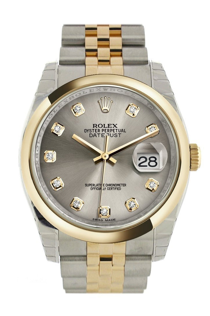 Rolex Datejust 36 Steel Diamond Dial 18k Gold Two Tone Jubilee Watch 116203