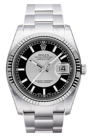 Rolex Datejust 36 Silver Black Dial 18K White Gold Fluted Bezel Stainless Steel Oyster Watch 116234