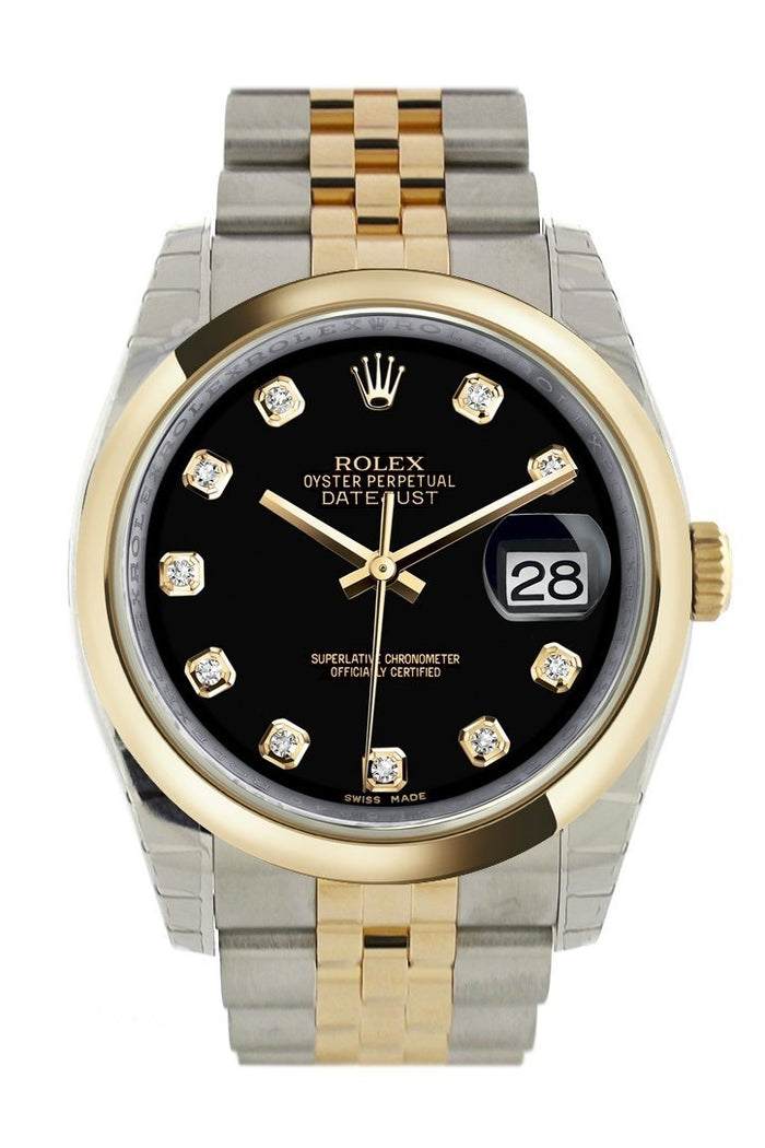 Rolex Datejust 36 Black Diamond Dial 18k Gold Two Tone Jubilee Watch 116203