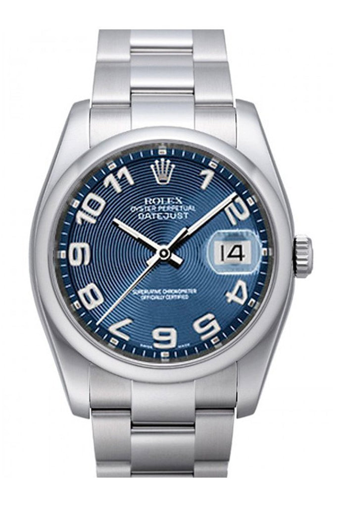 Rolex Datejust 36 Blue Concentric Dial Stainless Steel Oyster Mens Watch 116200 / None