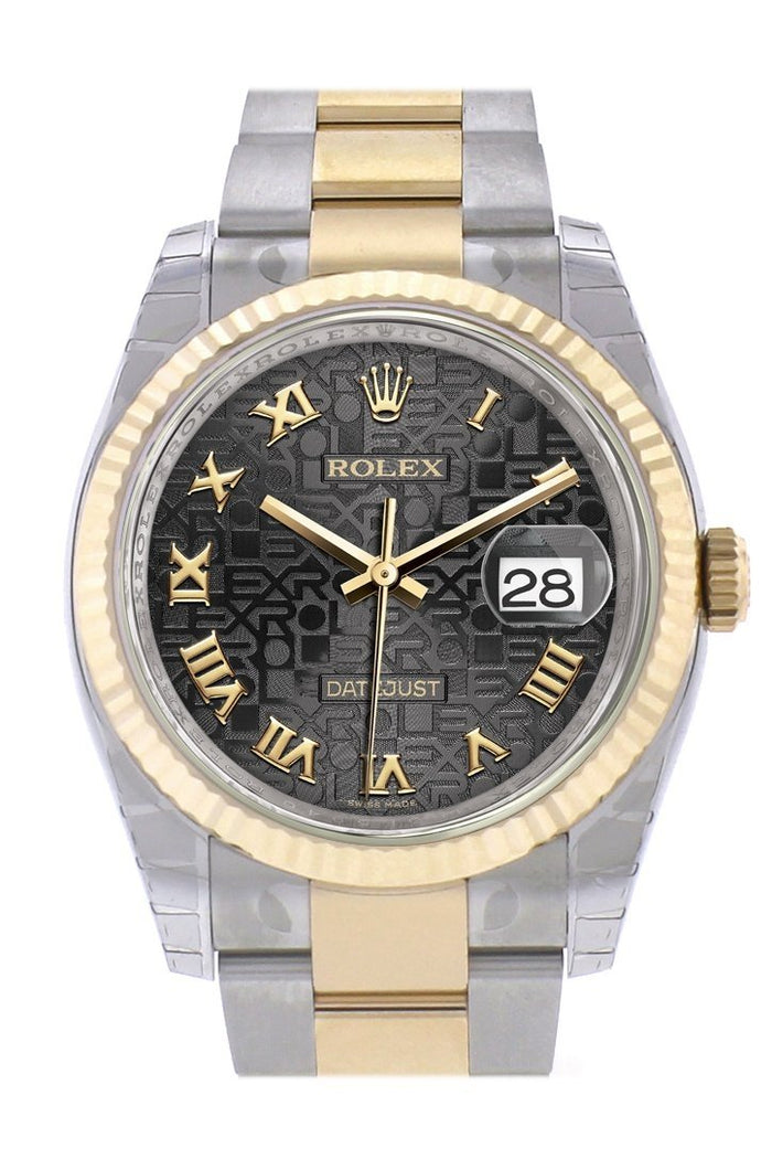 Rolex Datejust 36 Black Jubilee Roman Dial Fluted 18K Gold Two Tone Oyster Watch 116233