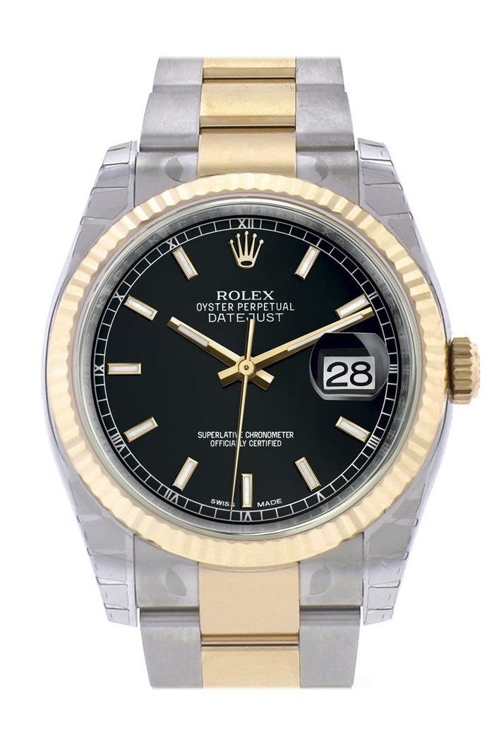 Rolex Datejust 36 Black Dial Fluted 18K Gold Two Tone Oyster Watch 116233