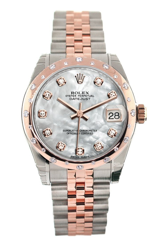 Rolex Datejust 31 White Mother of Pearl Diamond Dial Diamond Bezel 18K Rose Gold Two Tone Jubilee Ladies Watch 178341