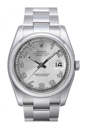 Rolex Datejust 36 Silver Concentric Dial Stainless Steel Oyster Mens Watch 116200 / None