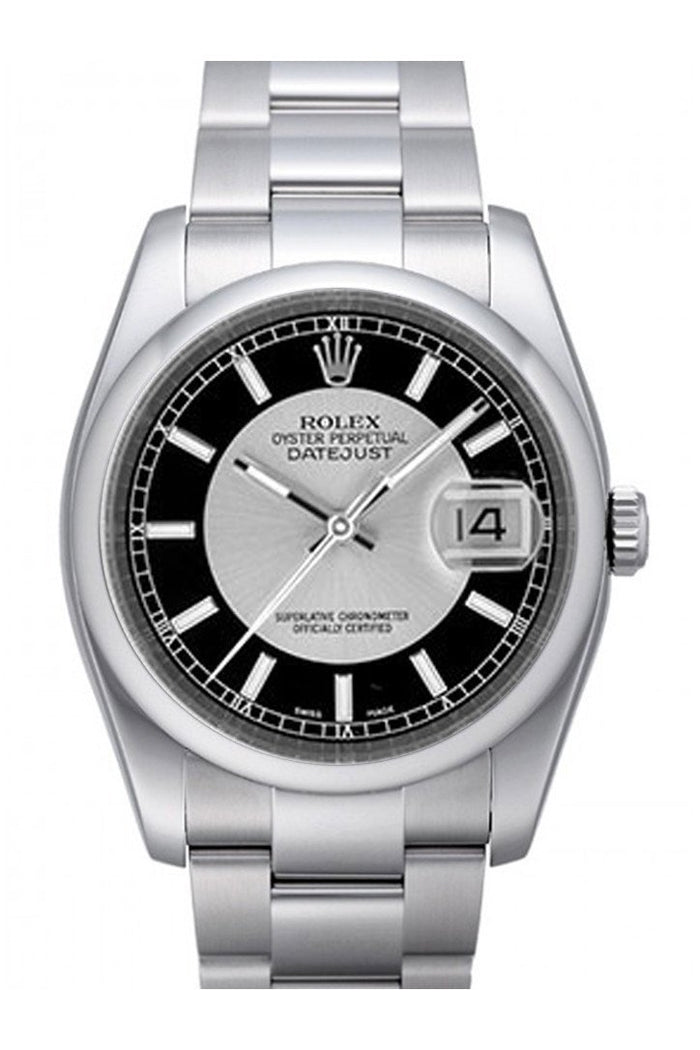 Rolex Datejust 36 Silver Black Dial Stainless Steel Oyster Men's Watch 116200
