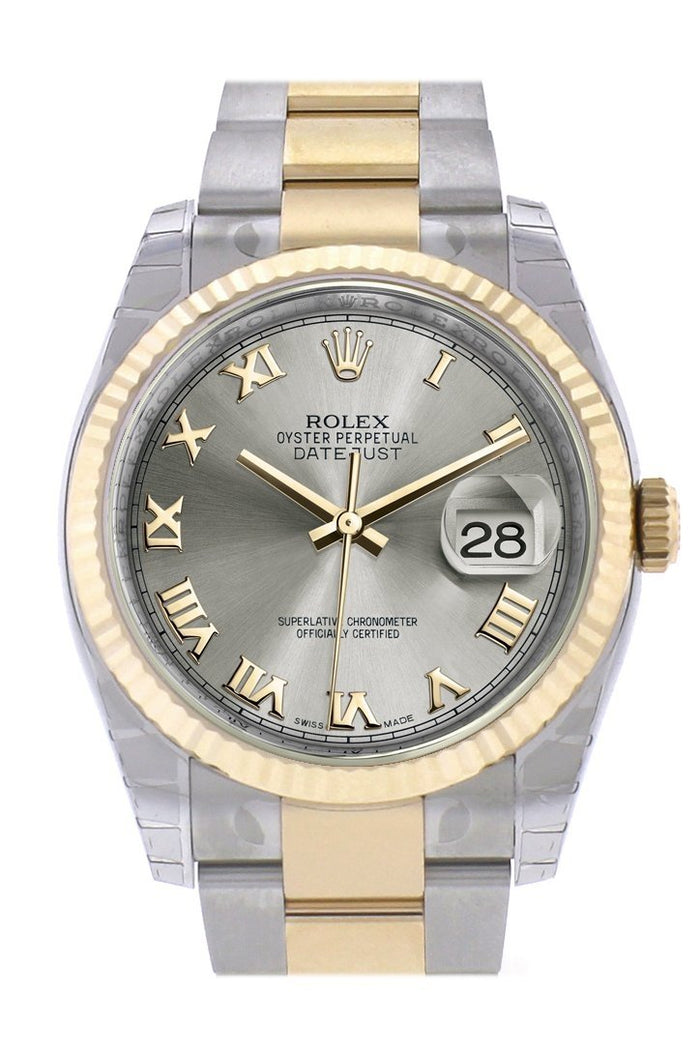 Rolex Datejust 36 Steel Roman Fluted 18K Gold Two Tone Oyster Watch 116233