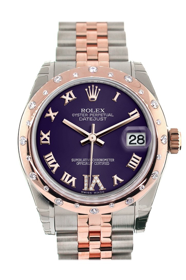 Rolex Datejust 31 Purple Roman Large Vi Set With Diamond Dial Bezel 18K Rose Gold Two Tone Jubilee