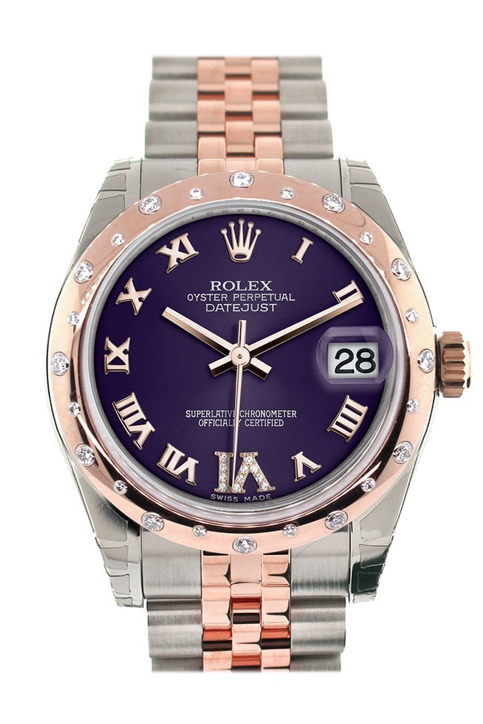Rolex Datejust 31 Purple Roman Large VI set with Diamond Dial Diamond Bezel 18K Rose Gold Two Tone Jubilee Ladies Watch 178341