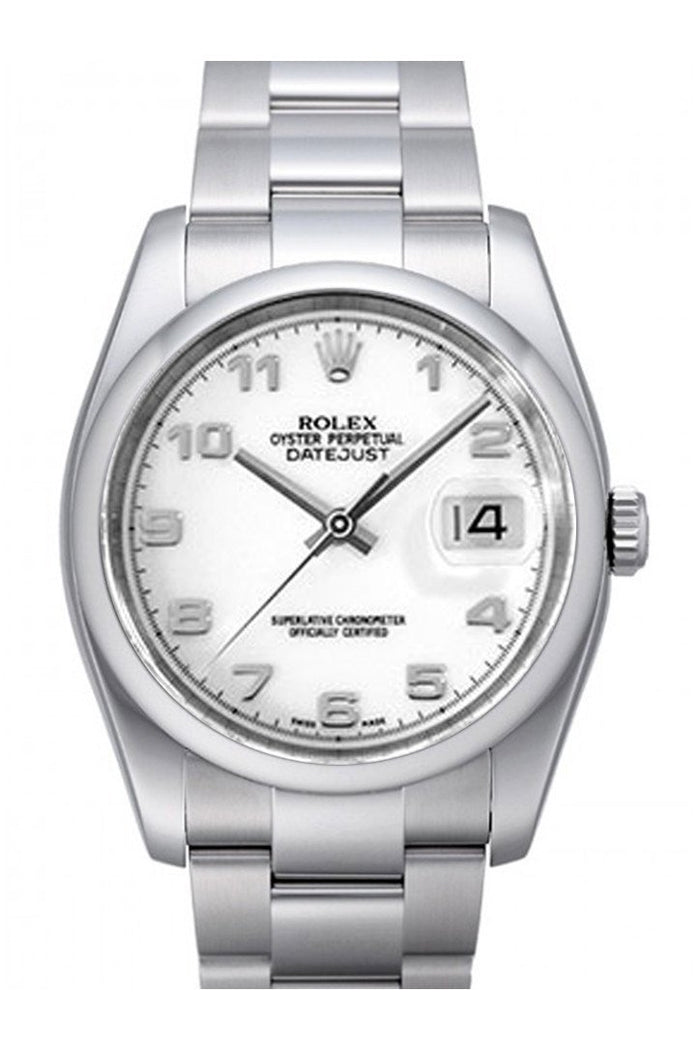 Rolex Datejust 36 White Dial Stainless Steel Oyster Men's Watch 116200